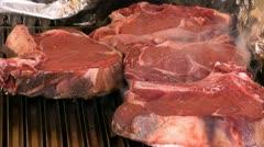 Steak on grill Stock Footage