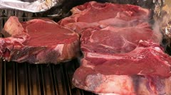 Steak on grill Stock Footage