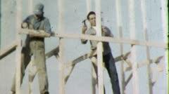 Carpenters FRAMING Wood Construction 1960s Vintage Retro Film Home Movie 4483 Stock Footage