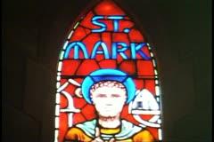 Trinity Cathedra, Hamilton, Bermuda, stain glass detail, Saint Mark Stock Footage