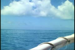 Forward shot from a boat moving over sea off Bermuda,  fast, rope rail Stock Footage