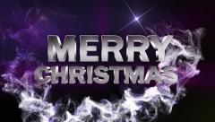 MERRY CHRISTMAS Text in Particle Blue 1 - HD1080 Stock Footage