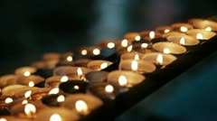 Candles in Church. Faith and Pray - stock footage
