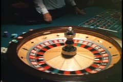 Cruise ship casino, roulette wheel Stock Footage