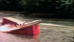 Speed Boat Jumps Ramp Crazy People Stunt 1960s Vintage Film Home Movie 4497 Stock Footage