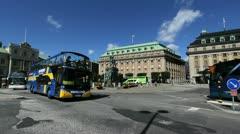 Sweden Stockholm tour buses Stock Footage