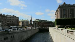 Sweden Stockholm canal Stock Footage