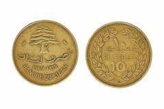 Ten lebanese piastres monet. Stock Photos