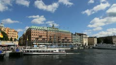 Sweden Stockholm Grand Hotel with boat Stock Footage