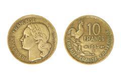 Old french monetary unit franc. Stock Photos