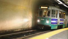 Boston Green Line Train Arriving At An Underground Station Stock Footage