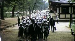 Japanese SCHOOL CHILDREN Crowd Field Trip 1970s (Vintage Film Home Movie) 4507 Stock Footage