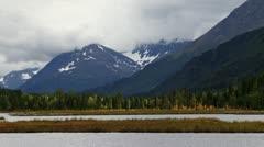 Alaskan Cloudy Mountain Scenic at Tern Lake Stock Footage
