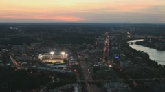 Fenway Park Aerial At Sunset On A Game Day With The Boston Red Sox's Stock Footage