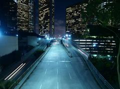 downtown los angeles night - stock photo
