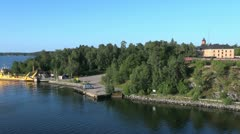 Sweden Stockholm Archipelago fort and ship 3s - stock footage
