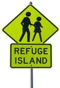 Refuge island warning traffic sign Stock Photos