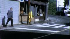 OLD MAN JAPAN Street Intersection Japanese 1970s (Vintage Film Home Movie) 4514 Stock Footage