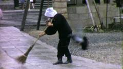 STREET SWEEPER JAPAN Kyoto Japanese 1970s (Vintage Film Home Movie) 4515 Stock Footage