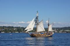 the ketch, hawaiian chieftain, sails on lake washington - stock photo
