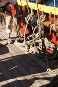Sailor coils a line Stock Photos
