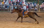 Rodeo barrel racer - a cowgirl and her horse rush to the finish Stock Photos