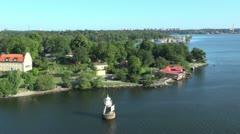 Sweden Stockholm channel marker 1s Stock Footage