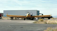 Aircraft crop duster refuels before flight Stock Footage