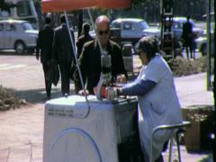Street Scene Warsaw Poland ICE CREAM VENDOR 1970s Vintage Film Home Movie 4530 Stock Footage