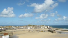St Ives low tide white clouds timelapse - stock footage