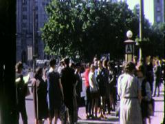 WAITNG IN LINE CUE Street Scene WARSAW  POLAND 1979 Vintage Film Home Movie 4534 - stock footage