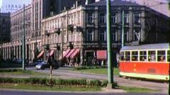 Street Scene TROLLEY Central WARSAW Communist 1970s Vintage Film Home Movie 4537 Stock Footage