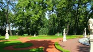 Stock Video Footage of renovated Summer garden park in St. Petersburg Russia