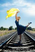 dancing on the railroad - stock photo