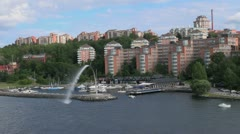 Sweden Stockholm apartments & fountain 3s Stock Footage