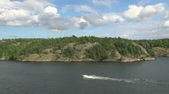 Sweden Stockholm Archipelago speed boat Stock Footage