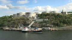 Sweden Stockholm oil tanks & ship 2s Stock Footage