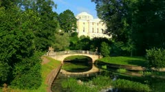 centaurs bridge and palace in Pavlovsk park St. Petersburg Russia - stock footage