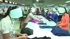 Garment Factory Industry Workers: Workers at long table Stock Footage
