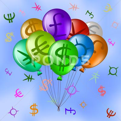 Stock Illustration of balloons with currency signs in sky
