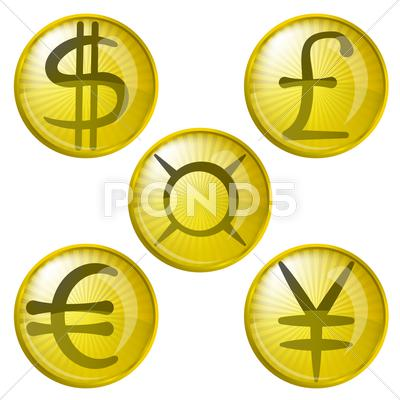 Stock Illustration of buttons with money, set