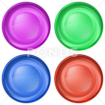 Stock Illustration of set of round buttons