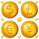 Buttons with currency signs, set Stock Illustration
