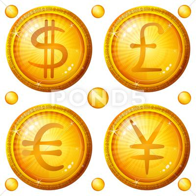 Stock Illustration of buttons with currency signs, set