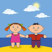 children on beach - stock illustration
