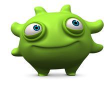 3d cartoon computer bug - stock illustration