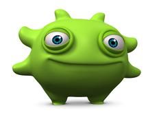 3d cartoon cute green alien Stock Illustration