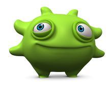 cartoon cute green monster - stock illustration