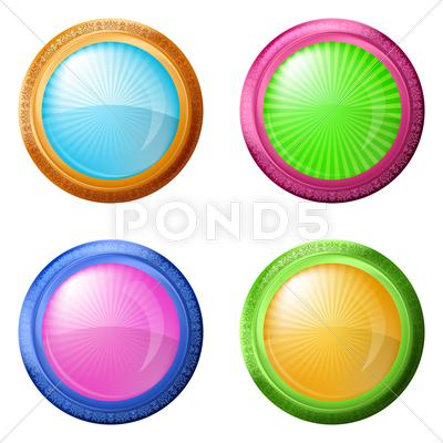 Stock Illustration of colorful round buttons, set