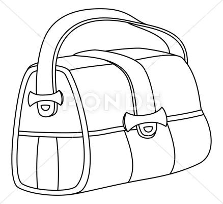 Stock Illustration of leather bag, contours